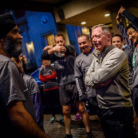 Minister Harjit Sajjan (Minister of National Defence, Canada) and General Jonathan Vance (Chief of the Defense Staff General, Canada) prepare to lead the annual Halifax 5K Run