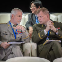Petr Pavel (Chairman of the Military Committee, NATO) and Josef Bec̆vá̆r (Chief of the General Staff, Armed Forces of the Czech Republic)