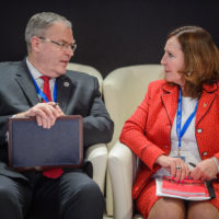 Robert Work (US Deputy Secretary of Defense) and Nancy Southern (Chair, President, and CEO of ATCO Ltd.)