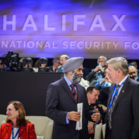 Minister Harjit Sajjan (Minister of National Defence, Canada) and Bill McCaffrey (President and CEO, MEG Energy Corporation)