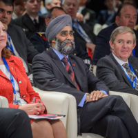 Nancy Southern (Chair and CEO of ATCO Ltd.), Minister Harjit Sajjan (Minister of National Defence, Canada), and Bill McCaffrey (President and CEO, MEG Energy Corporation)