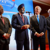 Atul Khare (Under-Secretary-General for Field Support, United Nations Secretariat), Minister Harjit Sajjan (Minister of National Defence, Canada), Sir Michael Fallon KCB MP (Secretary of State for Defence, United Kingdom), and Hervé Ladsous (Under-Secretary-General for Peacekeeping Operations, United Nations)