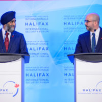 Minister Harjit Sajjan (Minister of National Defence, Canada) and Peter Van Praagh (President, Halifax International Security Forum)