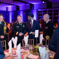 General Jonathan Vance (Chief of the Defence Staff, Canadian Armed Forces), Minister Harjit Sajjan (Minister of National Defence, Canada), and General Haakon Bruun-Hanssen (Chief of Defence, Norway) at the Friday Night Gala Dinner