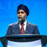 Minister Harjit Sajjan (Minister of National Defence, Canada) gives remarks at the Friday Night Gala Dinner