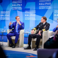 Jane Harman (Director, President, and CEO, Woodrow Wilson Center), Minister Peter MacKay (Minister of Justice and Attorney General, Canada), Admiral Mike Rogers (Commander, US Cyber Command and Director, National Security Agency), and Lyse Doucet (Chief International Correspondent, BBC)