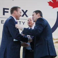 Minister Peter MacKay (Minister of National Defence, Canada), US Senator John McCain, and Juan Carlos Pinzon Bueno (Minister of Defence, Colombia)