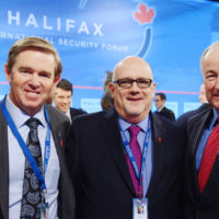 Bill McCaffrey (President and CEO, MEG Energy Corporation), Joe Hall (Vice President, Halifax International Security Forum), and Minister Rob Nicholson (Minister of National Defence, Canada)