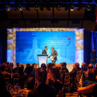 Minister Peter MacKay (Minister of Justice and Attorney General, Canada) presents the Halifax Builder Award to Bill McCaffrey (President and CEO, MEG Energy Corporation and Chairman, Halifax Canada Club)