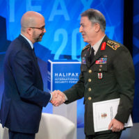 Peter Van Praagh (President of Halifax International Security Forum) and Hulusi Akar (Commander of the Turkish Armed Forces)