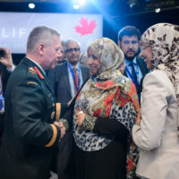 Jonathan Vance (Chief of the Defence Staff, Canadian Armed Forces), Tawakkol Karman (Nobel Peace Laureate and Founder of Women Without Chains), Fauziya Ali (Founder of Women In International Security, Kenya and Chair of Sisters without Borders) following Plenary 4: Making Peace with Women