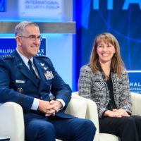 John Hyten (Commander of US Strategic Command) and Julie Perkins (Chief Engineer of In-Space Vehicle Propulsion Systems, Boeing)
