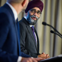 Harjit Sajjan (Minister of National Defence, Canada) with Peter Van Praagh (President of Halifax International Security Forum)