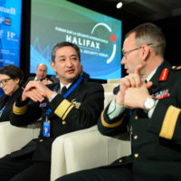 Tomohiko Madono (Deputy Director General for Defense Plans and Policy, Joint Staff, Ministry of Defense of Japan) and D.A. Macaulay (Commander, 5thCanadian Division, Canadian Armed Forces)