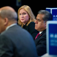 """Tzipi Livni (Head of Hatnua Party, Co-leader, Zionist Union Party, and Member, 20th Knesset, and Former Minister of Foreign Affairs and Minister of Justice, Israel) with Abderrahim Foukara (Washington DC Bureau Chief, Al Jazeera) and Falah Mustafa Bakir (Head of Foreign Relations Department, Kurdistan Regional Government) on """"Rebuilding the Middle East: From Civil War to Civil Society"""""""