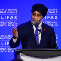 Minister Harjit Sajjan (Minister of National Defence of Canada) gives an opening remark at the 2019 Forum.