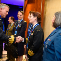 Rachel Durbin (Director of Future Force Lifecycle Engineering, Royal Australian Navy) shakes hands with Rob Bauer  (Chief of Defence of the Netherlands Armed Forces).