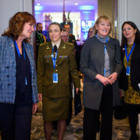 Nancy Southern (Chair and Chief Executive Officer, ATCO), Lieutenant Colonel Joana Polekauskienė (Senior Instructor, General Jonas Žemaitis Military Academy of Lithuania), Tammy Harris (Former Deputy Commander, Royal Canadian Air Force, Canadian Armed Forces), and Paz Magat (Director of Peace With Women Fellows, Halifax International Security Forum)
