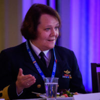 Commodore Solveig Krey (Deputy Assistant Chief of Staff, Operations Section, Norwegian Armed Forces) speaks at the 2019 Peace With Women Fellows.
