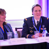 Nancy Southern (Chair and Chief Executive Officer, ATCO) and Solène Le Floch (Human Resource Manager for Air Crews, 705th Airbase, French Air Force) participate in the 2019 Peace With Women Fellows.