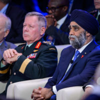General Jonathan Vance (Chief of the Defence Staff, Canadian Armed Forces) and Minister Harjit Sajjan (Minister of National Defence of Canada)
