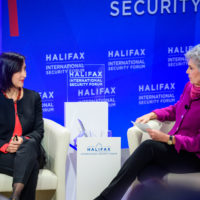 """Ambassador Isadora Zubillaga (Deputy Commissioner for Foreign Affairs, National Assembly) and Jeanne Meserve (Member of Homeland Security Experts Group) speak on """"Revolutions of Our Time: Freedom Without US."""""""