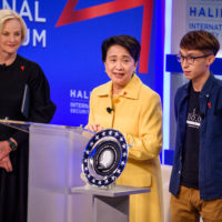 Cindy McCain (Chair, McCain Institute for International Leadership), Emily Lau (Chair of Foreign Affairs Committee of the Democratic Party, Hong Kong), and Figo Chan (Civil Human Rights Front, Hong Kong) with the John McCain Prize