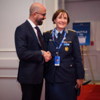 Peter Van Pragh (President of Halifax International Security Forum) greets Colonel Dr. Lale Bartoschek (Chief of Branch Recruitment, Federal Ministry of Defence, German Armed Forces).