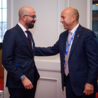 Peter Van Praagh (President of Halifax International Security Forum) welcomes Andy Fillmore (Member of Parliament of Halifax, Canada)