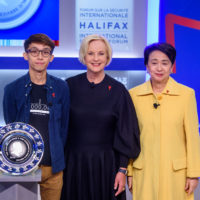 Figo Chan (Civil Human Rights Front, Hong Kong), Cindy McCain (Chair, McCain Institute for International Leadership), Emily Lau (Chair of Foreign Affairs Committee of the Democratic Party, Hong Kong)