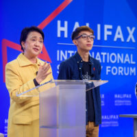 Emily Lau (Chair of Foreign Affairs Committee of the Democratic Party, Hong Kong) and Figo Chan (Civil Human Rights Front, Hong Kong) speak at the 2019 Forum.