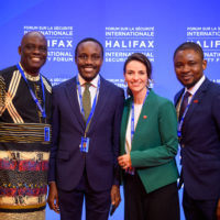 Iko Ibanga (Founder and CEO, Pro-Health International, Nigeria), Tolu Ogunlesi  (Special Assistant to the President of Nigeria on Digital and New Media), Jacqueline O'Neill (Ambassador for Women, Peace, and Security, Canada), and Japheth Omojuwa (Founder and Chief Strategist, Alpha Reach)