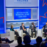 Nancy Lindborg (President of  the United States Institute of Peace), Peter Maurer (Former President of International Committee of the Red Cross), Dr. Lassina Zerbo (Executive Secretary of the Comprehensive Nuclear-Test-Ban Treaty Organization), and Mr. Jonathan Tepperman (Editor-in-Chief of Foreign Policy Magazine)