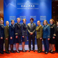 Minister Harjit Sajjan (Minister of National Defence of Canada) with the 2019 Peace With Women Fellows