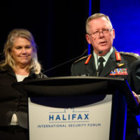Jody Thomas (Deputy Minister of National Defence of Canada) and General Jonathan Vance (Chief of the Defence Staff of Canadian Armed Forces) recognize the 2019 class of Peace With Women Fellows.