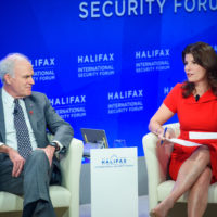"""Richard V. Spencer (Secretary of the Navy, United States Navy) and Luiza Savage (Editorial Director, Cross-Platform Content and Executive Director, Canada, POLITICO) speak on """"End of the Earth: The Arctic."""""""